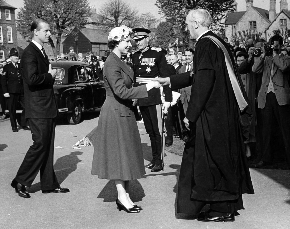 The Queen and Prince Phillip at the Cathedral Close during their visit to Hereford
