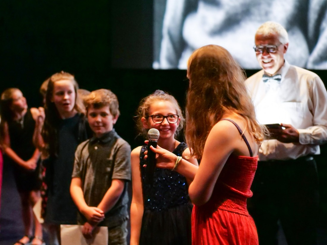 Pupils tell the audience about their film