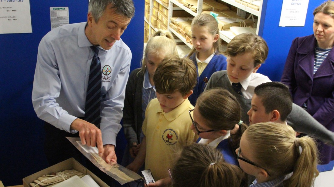 A school tour of the archives with Rhys Griffiths