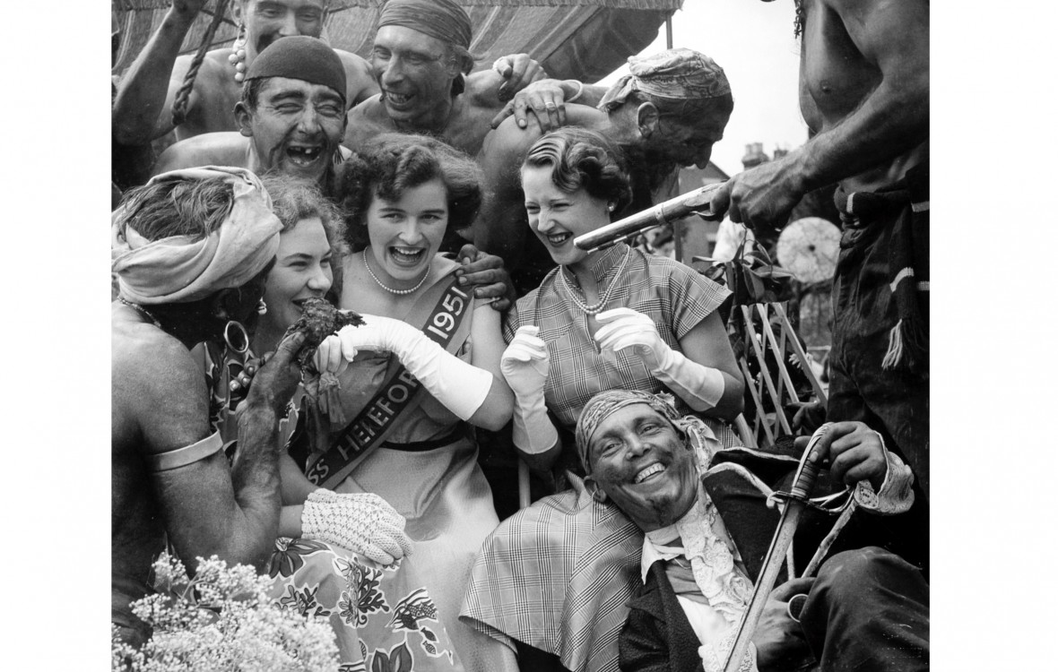 Miss Hereford abducted by the crew of a pirate ship float at Hereford City Carnival 1951
