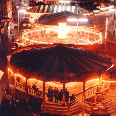 Colour Slide of Hereford May Fair glowing at night