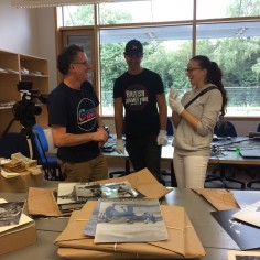 Filming in the HARC Archive with two volunteers