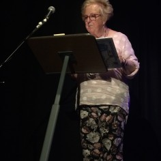 Margaret Dallow reads her poems at Stories From the Hop Yards screening at Ledbury Poetry Festival