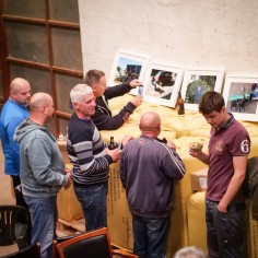 Townend farm post Stories From the Hop Yards screening - Polish workers take photos of the temporary exhibition