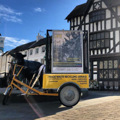 Pedicab with HLTAL poster in High Town, Hereford 2018